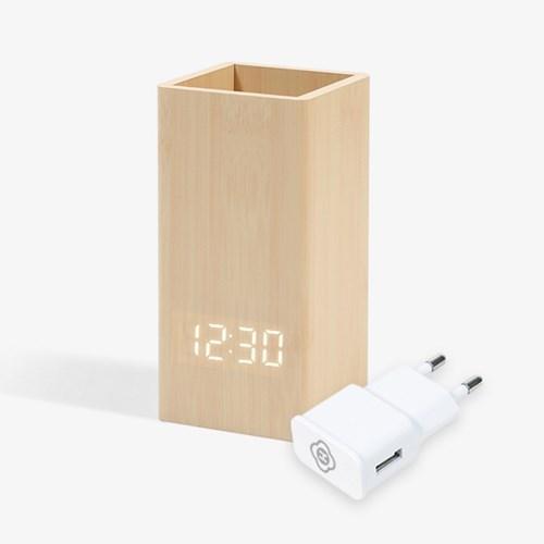인테리어 우드연필꽂이 탁상 알람 LED시계 어댑터세트_(1077306)