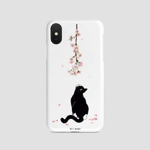 제주 벚꽃 고양이 일러스트 케이스