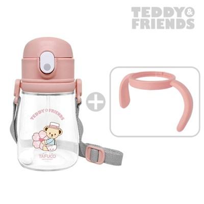 테디베어 프렌즈 트라이탄 빨대컵 360ml 핑크 / 목걸이 물병 양손잡