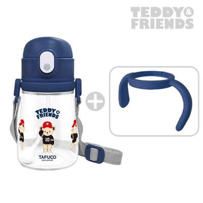 테디베어 프렌즈 트라이탄 빨대컵 360ml 네이비 / 목걸이 물병 양손