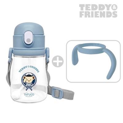 테디베어 프렌즈 트라이탄 빨대컵 360ml 블루 / 목걸이 물병 양손잡