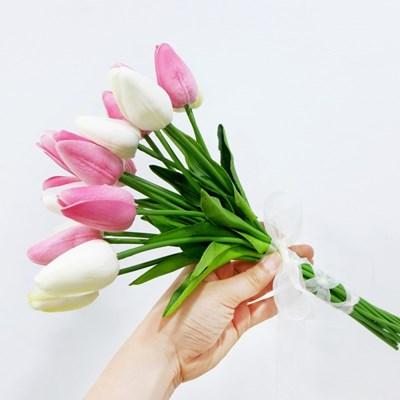 투톤 튤립 18송이 조화 신부부케(꽃반지 사은품)