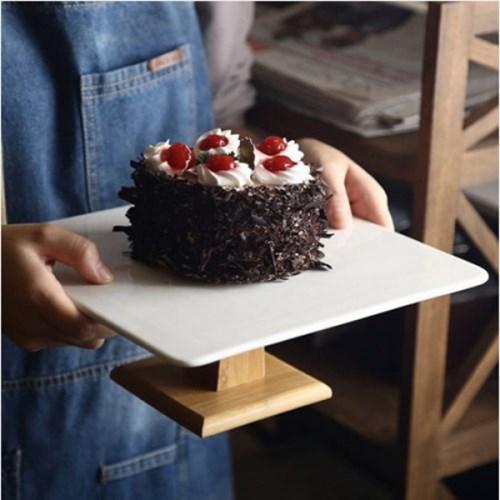 도자기 우드 케이크 트레이 1개