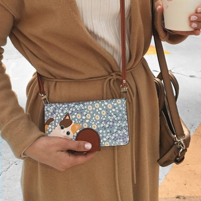 minicats블루소다_Leather handle wallet + cross strap