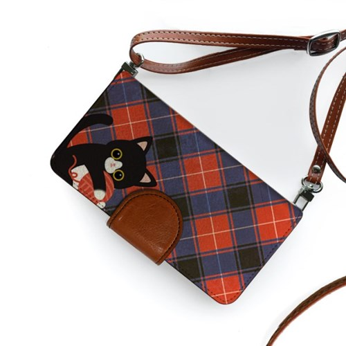 minicats프레피체크_Leather handle wallet + cross strap