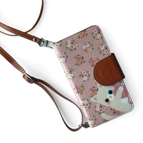 minicats달콤부케_Leather handle wallet + cross strap