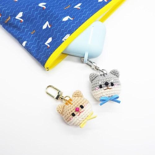 고양이 손뜨개 키링 휴대폰줄 브로치 인형