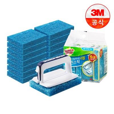3M 3M 크린스틱 올인원 욕실청소 핸들+리필 총15입 대박구성