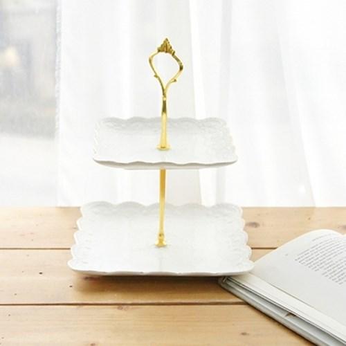 에밀리아 골드 2단 케이크 스탠드