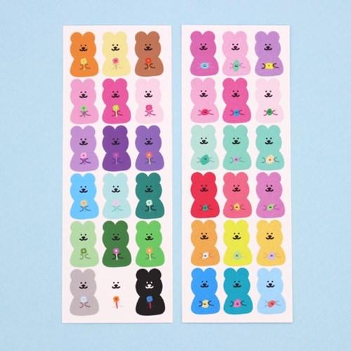 [한톨상점]반곰이의 소듕한 씰스티커(꽃/돌맹쓰)