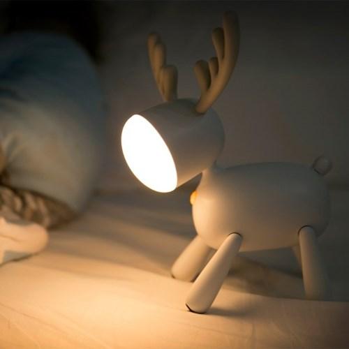 [무아스] 휴대용 충전식 루돌프 LED 무드등 수유등 취침조명