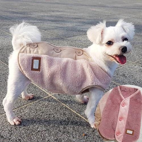 스웨이드 보아조끼 애견수면조끼 강아지겨울옷 애견잠옷