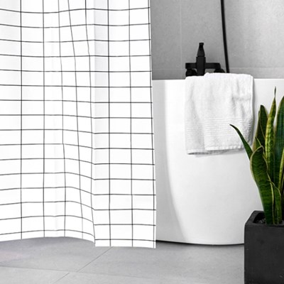 심플리 체크 욕실 샤워커튼 / 방수커튼(커튼링포함) ( RM 237001 )