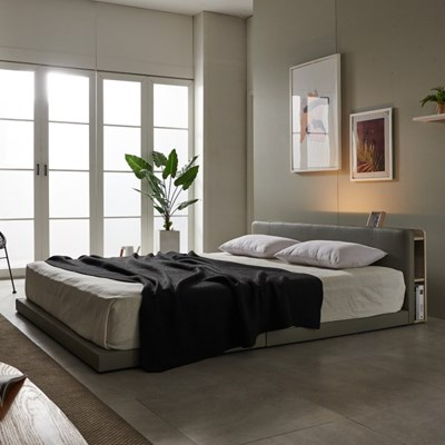 앨리스 LED 저상형 가죽 침대(콤비20T펜타폼7존독립롤팩-라지킹)