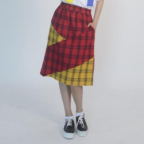 Check Midi Skirt (RED)_(1410643)