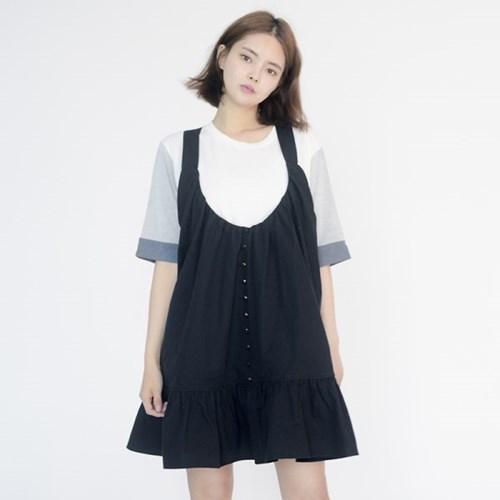 Frill Vest Boxy One-piece (BLACK)_(1410639)