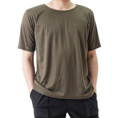 (UNISEX) Basic Color Short Sleeve T (KHAKI)_(1410709)