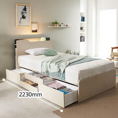 키에라 LED 롱바디 4단 수납 침대(매트포함-슈퍼싱글)
