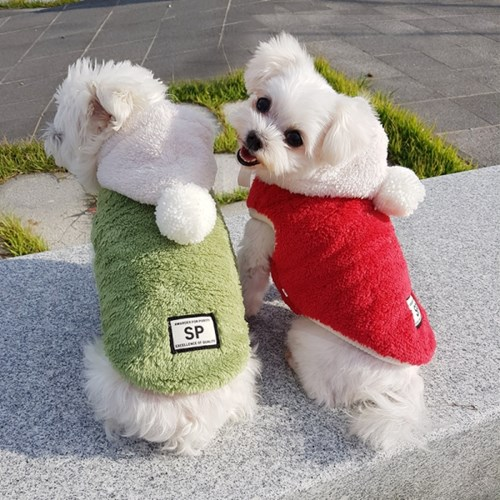 왕방울 보아후드 보아털 애견겨울옷 강아지겨울옷 애견티셔츠