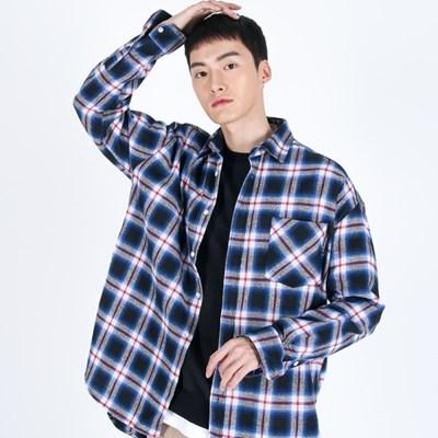 (UNISEX)Unbalance Blue Omber Check-Shirt