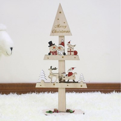 크리스마스 산타와 눈사람 장식 나무트리42cm
