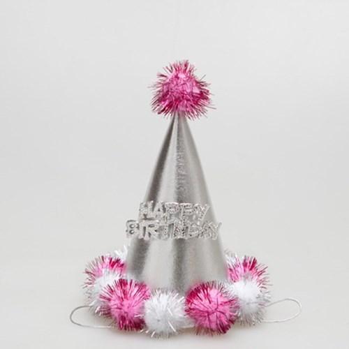 미니솜방울고깔모자 핑크