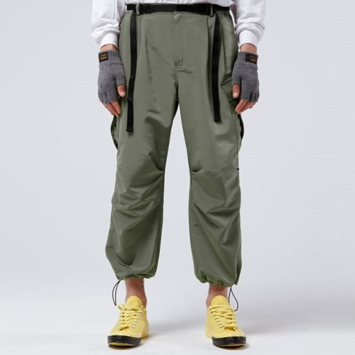 2TUCK BELTED CARGO PANTS (OLIVE GREEN)_(401030283)