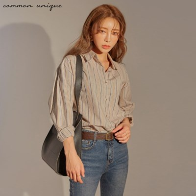 [커먼유니크] 로란 컬러 믹스 스트라이프 셔츠_(1544065)