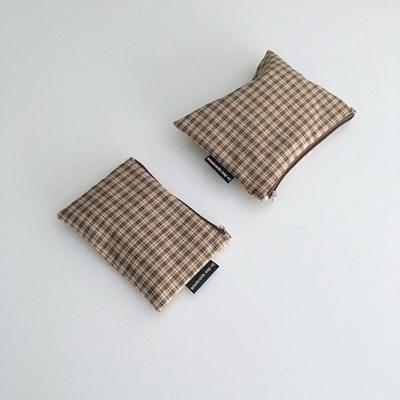 빈티지 베이지 체크 파우치(Vintage Beige check pouch)