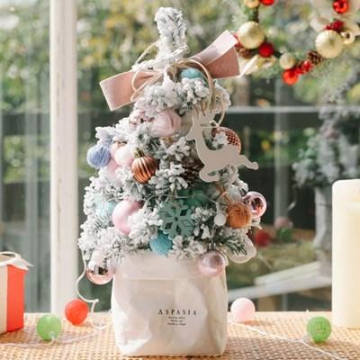 라마스 파스텔핑크 크리스마스 눈꽃 미니트리 45cm+앵두전구 장식