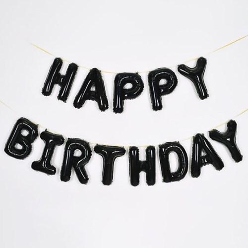 알파벳 은박풍선 세트 HAPPY BIRTHDAY 블랙