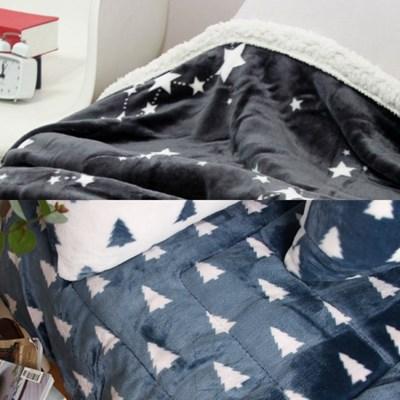 북유럽 패턴 밍크 토퍼 & 블랑켓 세트