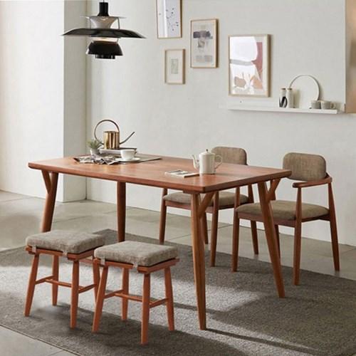 리치 4/6인용 원목 식탁테이블 1500세트(의자2개 , 스툴2개 포함)