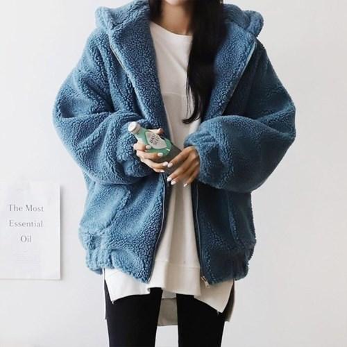 여자 겨울 5컬러 오버핏 덤블 양털 후드 집업