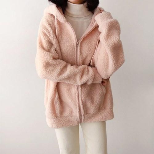 여자 5컬러 핑크 루즈핏 후드 덤블 양털 후드 집업