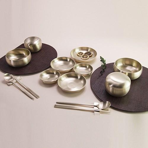 한놋 유기 5첩반상기 원앙 2인식기세트 유기그릇 놋그릇