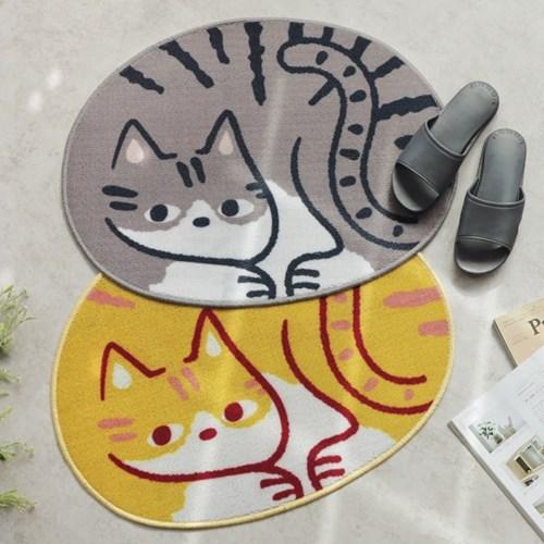 고양이 타원 발매트 2color