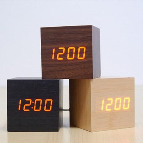 텐교 무소음 원목 LED 디지털 우드큐브시계 직사각우드시계