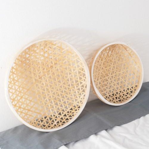 대나무 라탄 원형 채반 튀김그릇 트레이 2P세트_(1140266)