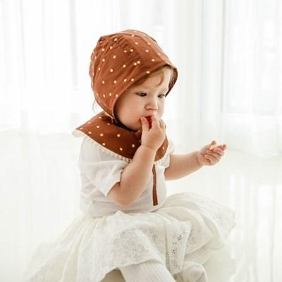 미니도트브라운 신생아 헤어밴드 아기턱받이 스카프빕 보넷