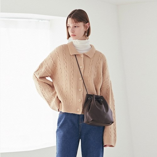 CABLE KNIT CARDIGAN_LIGHT BEIGE