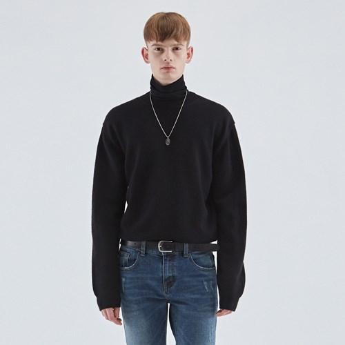 WOOL SOFT OVER KNIT_BLACK