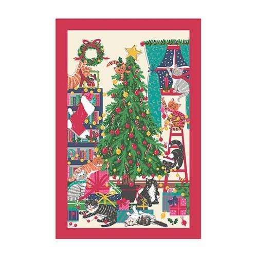 [울스터위버스] 크리스마스 트리 캣츠 면 티타올(UK)