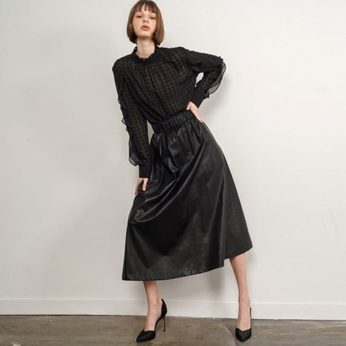 Tilli Flare Leather Skirt_Black_(34710)