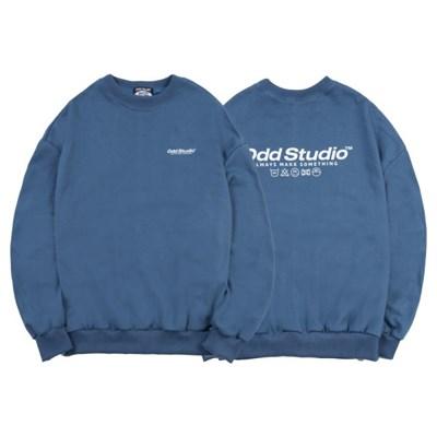 [스티커팩 증정] 오드스튜디오 베이직 맨투맨 티셔츠 - DUST BLUE
