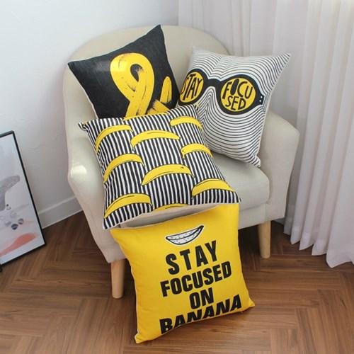 러프 소파 쿠션(솜포함) 45x45 바나나파티