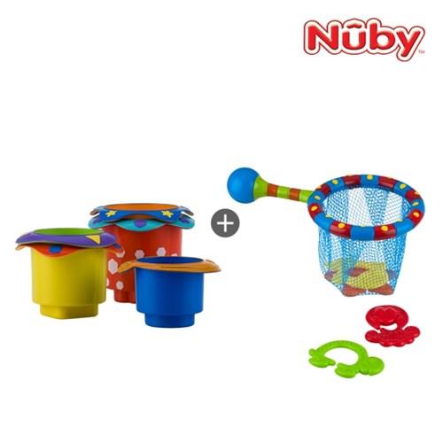 누비 아기목욕장난감 2종세트(컵쌓기 놀이+낚시놀이)/물_(2374910)