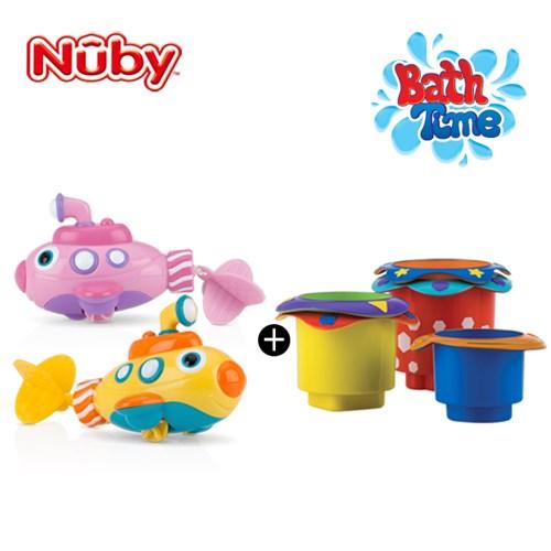 누비 아기목욕장난감 2종세트(잠수함+컵쌓기 놀이)/물놀_(2374905)