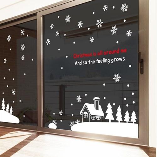 크리스마스 포인트 스티커 눈 내리는 마을_(2434140)