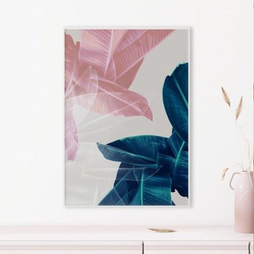 핑크리프 나뭇잎 액자 식물 인테리어 그림